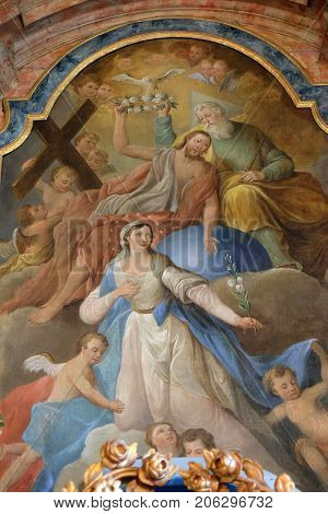 KLENOVNIK, CROATIA - OCTOBER 08: Coronation of the Virgin Mary, altarpiece in the church of Holy Trinity in Klenovnik, Croatia on October 08, 2016.