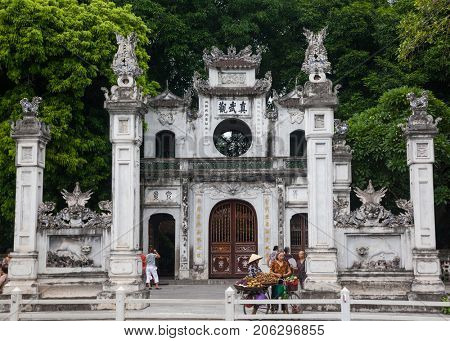 HANOI VIETNAM - AUGUST 2017: Quan Thanh Temple. Quan Thanh Temple is a Taoist temple dated to the 11th century.