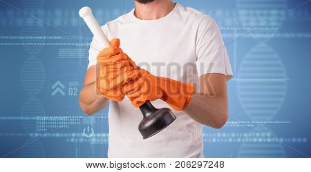 Crowd cleaning theme with male housekeeper and DNS concept wallpaper