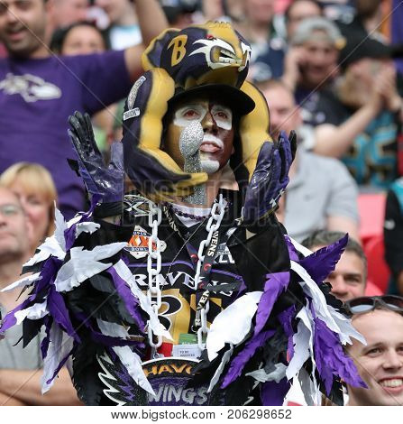 LONDON, ENGLAND - SEPTEMBER 24: A Ravens fan during the NFL match between The Jacksonville Jaguars and The Baltimore Ravens at Wembley Stadium on September 24, 2017 in London, United Kingdom.