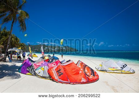 BORACAY, PHILIPPINES -MARCH 19, 2016: Tourist getting ready for windsurfing on March 19, 2016. at Bulabog Beach Boracay. Philippines