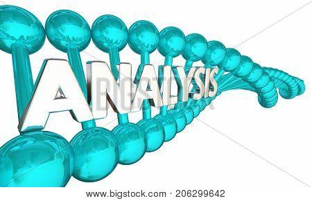 DNA Analysis Genetic Analyze Gene Code Word 3d Illustration