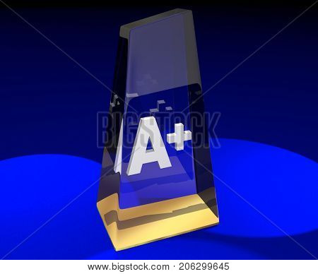 A Plus Grade Top Score Award Best Result 3d Illustration