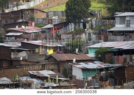 Shacks and slum in Addis Ababa, Ethiopia