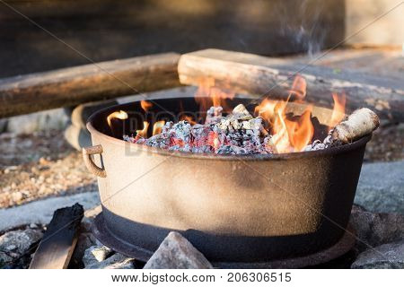 Hot Charcoal Fire Ready For Barbecue In Firepit