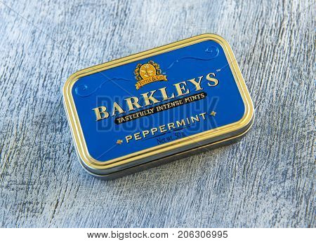 MOSCOW - SEPTEMBER 20, 2017: Barkleys tastefully intense mints. Illustrative editorial photo