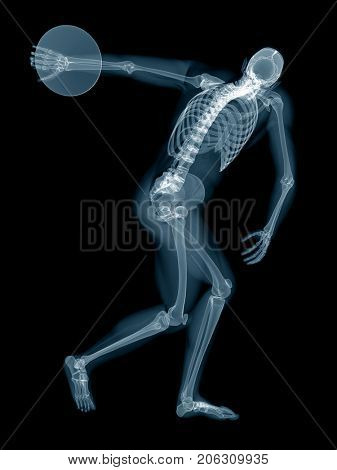 3d rendered medically accurate illustration of a discus thrower x-ray