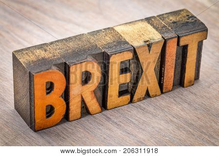 Brexit word abstract in vintage letterpress wood type printing blocks