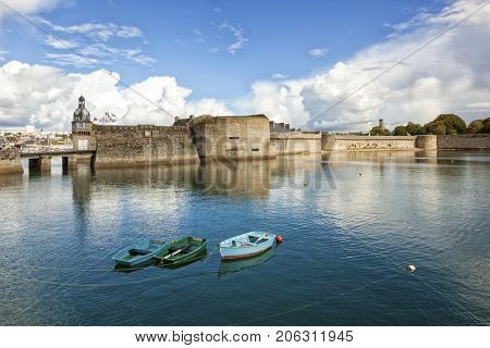 The walled city or Ville Close at Concarneau, Finistere Department of Brittany