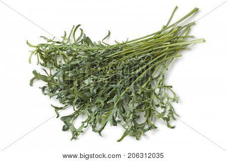 Heap of fresh homegrown Jagallo Nero Kale on white background