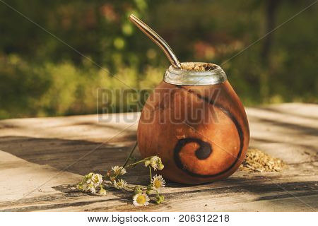 Traditional Argentinean yerba mate drink in Calabash with Bombilla, outdoors shoot