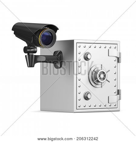 Safe and camera on white background. Isolated 3D illustration