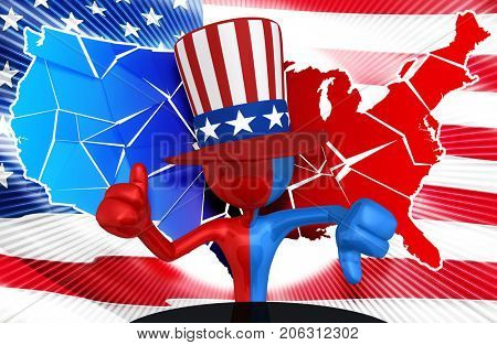 The Original 3D Character Illustration Uncle Sam With A Broken United States