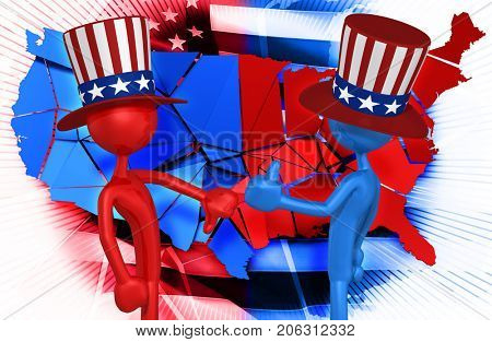 Uncle Sam Thumbs Down Uncle Sam Thumbs Up Original 3D Characters Illustration