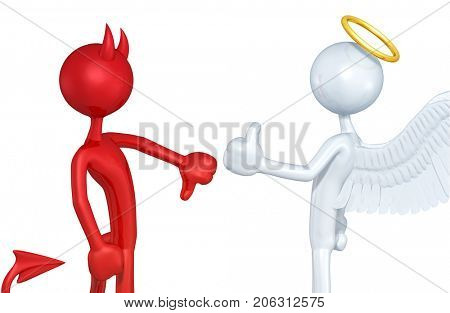 Thumbs Down Devil Thumbs Up Angel The Original 3D Characters Illustration