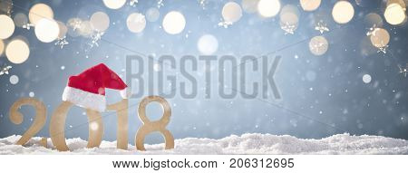 Christmas background with Santa hat and 2018
