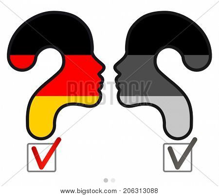 Elections in Germany.  Profile and question mark made from the flag. The sign of voting and the check of boxing. Color and black and white variations