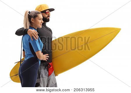 Female and a male surfer with a surfboard isolated on white background