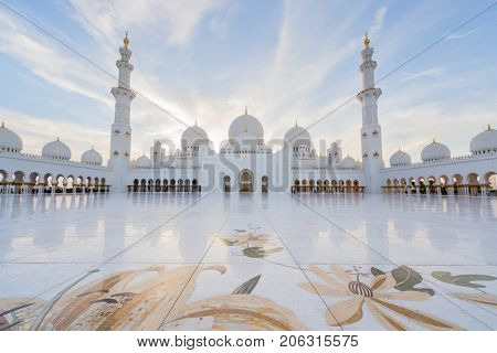 ABU DHABI, UAE - JAN 18, 2017: Big Sheikh Zayed Mosque is one of six largest mosques in world, mosque was officially opened in 2007