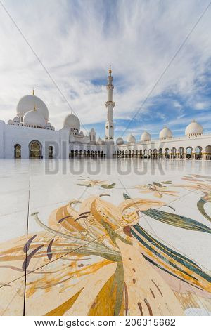 ABU DHABI, UAE - JAN 18, 2017: Sheikh Zayed Mosque is one of six largest mosques in world, mosque was officially opened in 2007