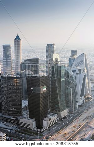 DUBAI, UAE - JAN 9, 2017: One Business Bay, Prism Tower, Regal Tower, Exchange Tower, Iris Bay tower
