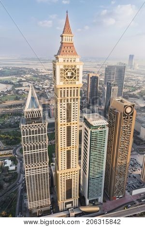 DUBAI, UAE - JAN 8, 2017: Tower, Al Yaqoub Tower, Capricorn Tower, Maze Tower, Dubai ranked fifth in Emporis ranking of world cities with largest number of skyscrapers