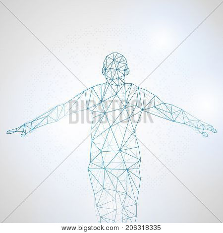 Lines connected to success symbolizing the meaning of artificial intelligence Network connection turned into vector illustration.