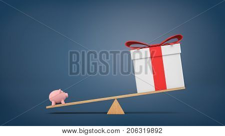 3d rendering of a wooden seesaw on blue background with a small piggybank heavier than a big gift box. Spend or save money. Investment choices. Financial wisdom.