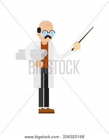 Doctor in white coat icon. Scientific research in laboratory vector illustration in flat design.
