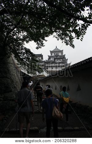 Flocking Tourists Entering Himeji Castle (also Known As