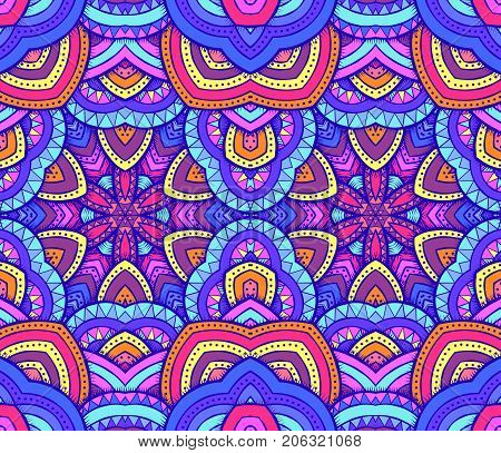 Seamless decorative ethnic pattern design. Vector texture for wallpapers pattern fills web page backgrounds