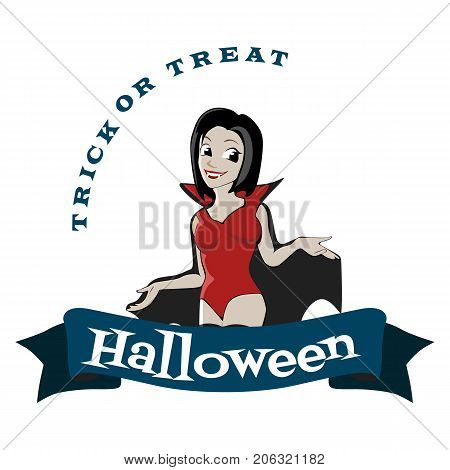halloween gothic party with vampire girl, fun background for horror invitation on vamp cosplay, sexy dracula woman with fangs on vector flyer, cemetery nightlife poster or banner illustration poster