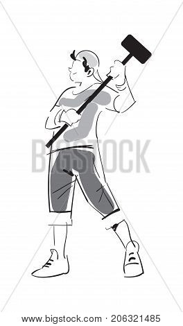 Young man with sledgehammer isolated sketch. Home improvement, house repair, man doing renovation in apartment vector illustration.