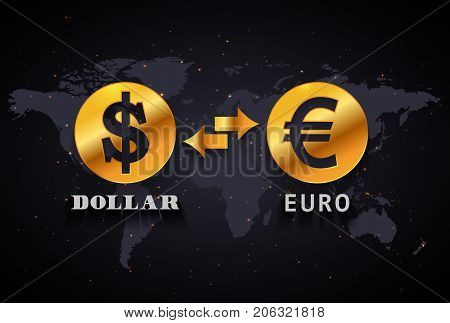 American Dollar to Euro currency exchange infographic template on world map background
