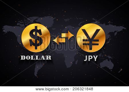 American Dollar to Japanese Yen currency exchange infographic template on world map background