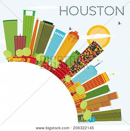 Houston Skyline with Color Buildings, Blue Sky and Copy Space. Business Travel and Tourism Concept with Modern Buildings.