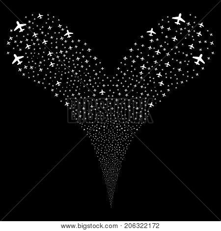 Airplane fireworks stream. Vector illustration style is flat white iconic airplane symbols on a black background. Object fountain organized from random icons.