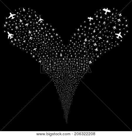 Airplanes salute stream. Vector illustration style is flat white iconic airplanes symbols on a black background. Object fountain organized from random icons.