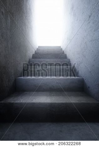 Old concrete stairs to the light. 3d rendering