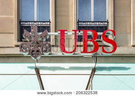 Bern Switzerland - May 26 2016: UBS bank symbol at the city center of Bern Switzerland. UBS is a globally active financial services company.