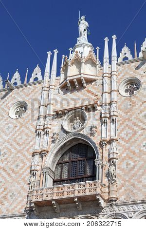 Doge's Palace on Piazza San Marco facade Venice Italy. The palace was the residence of the Doge of Venice the museum is currently located here