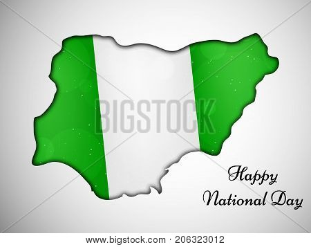 illustration of Nigeria map in Nigeria flag background with Happy National Day text on the occasion of Nigeria National Day