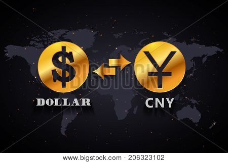 American Dollar to Chinese Yuan currency exchange infographic template on world map background