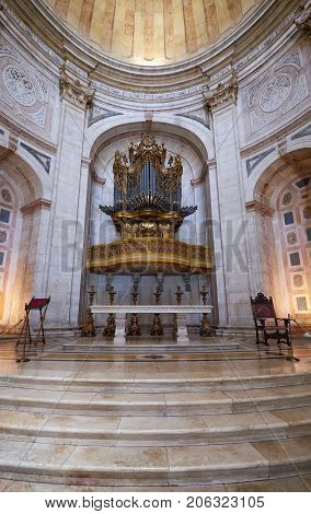Altar Apse With Baroque Organ Of Santa Engracia Church (now National Pantheon). Lisbon. Portugal