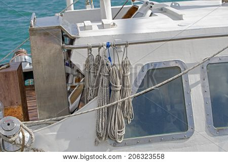the Sailboat wooden marine rigs and ropes