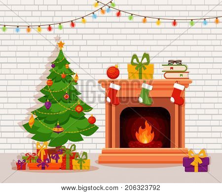 Christmas fireplace room interior in colorful cartoon flat style. Christmas tree, gifts, decoration,  light bulb chain, fireplace. Cozy noel xmas night celebration interior vector illustration.
