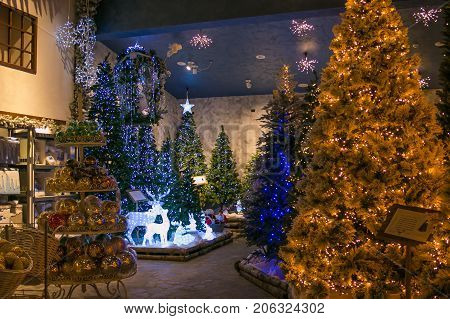 VETRALLA, ITALY - SEPTEMBER 23, 2017: Christmas trees with lights in the reign of Santa Claus shop