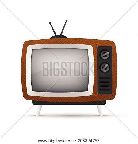 Vector illustration retro tv set icon isolated on a white background