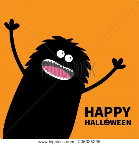 Screaming monster fluffy silhouette in the corner looking up. Eyes teeth tongue spooky hands. Black Funny Cute cartoon baby character. Happy Halloween pumpkin text. Flat Orange background. Vector