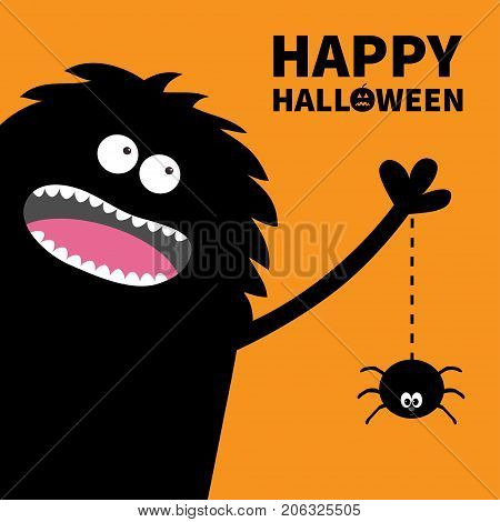 Screaming monster silhouette in the corner. Spider dash line web. Black Cute Funny cartoon baby character. Eyes teeth tongue spooky hands. Happy Halloween pumpkin text Flat Orange background Vector